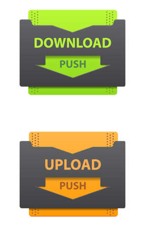 Download and upload green and orange icons isolated on white Stock Vector - 13119910