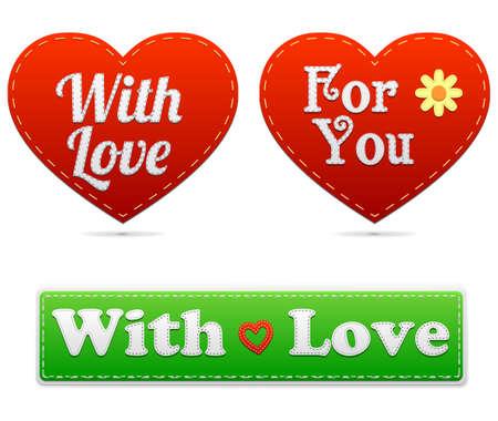 Geïsoleerde Stitched Label over de liefde