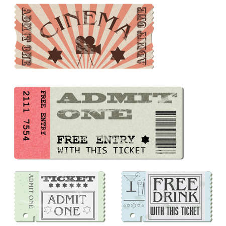 admission: Tickets in different styles