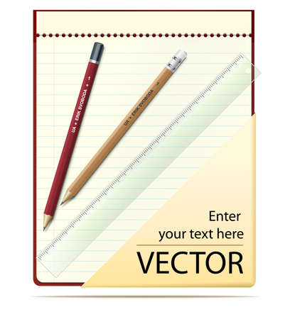 Notepad with pencil, ruler and place for text