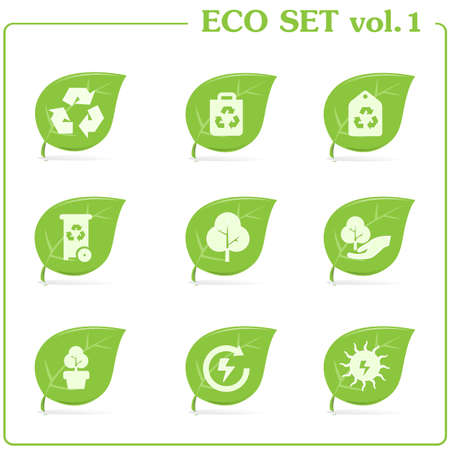 Green ecology icon set Vector