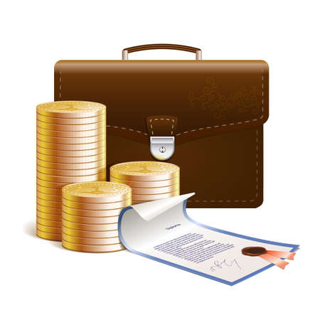 Golden coins on the white background whit brief-bag and securities Vector