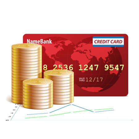 Credit cards, financial schedules and coins illustration, isolated