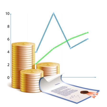 Coins, financial schedules and financial securities illustration, isolated