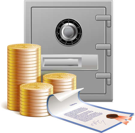 Coins, bank vault and  financial securities, vector illustration, isolated