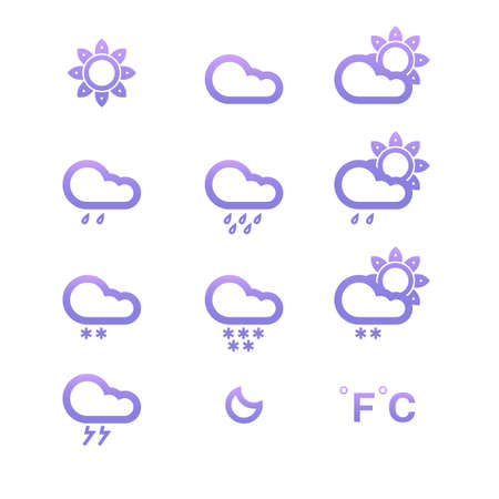 weather conditon icons collection, isolated Stock Vector - 13866551