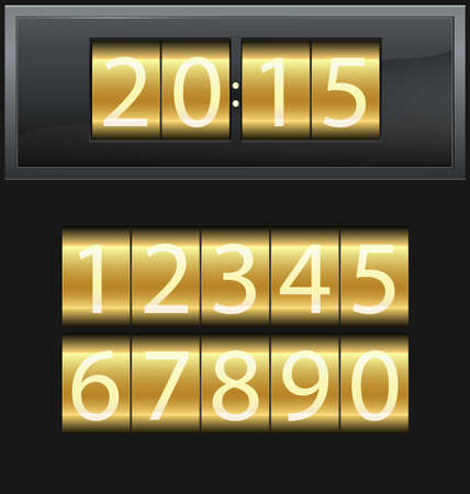 Number set from 1 to 9, digital clock gold Vector
