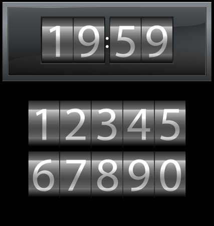 arabische letters: Aantal set van 1 tot 9, digitale klok