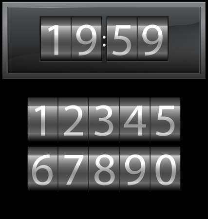 seven: Number set from 1 to 9, digital clock