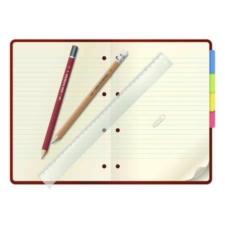 An open open notebook with  pencils and  ruler, isolated   Illustration
