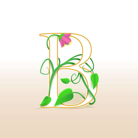 cursive: Letter B with an vintage abstract floral pattern, isolated Illustration