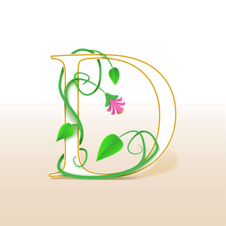 cursive: Letter D with an vintage abstract floral pattern, isolated