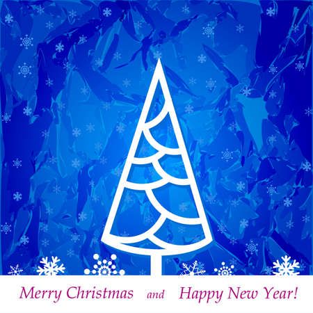 Christmas tree on a blue background with snowflakes, illustration Stock Vector - 15995067