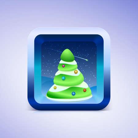ios: Green festive fir icon IOS style illustration for your design