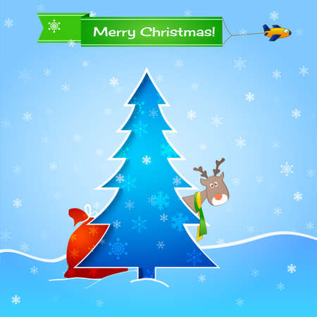 blue christmas card, tree, funny deer and gifts Vector