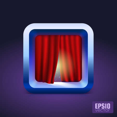 ios: Theater curtain icon IOS style  Vector illustration for your design