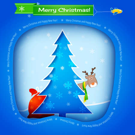 Vector blue christmas card, tree, funny deer and gifts Vector
