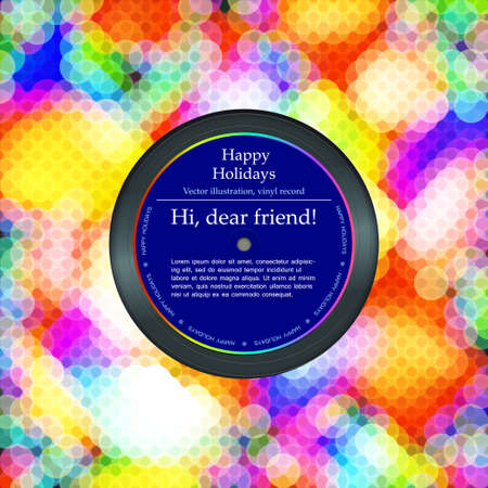Vinyl record in the envelope, colorful background, vector illustration