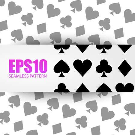 playing card symbols: Seamless jugando s�mbolos tarjeta f�cil de editar Vectores