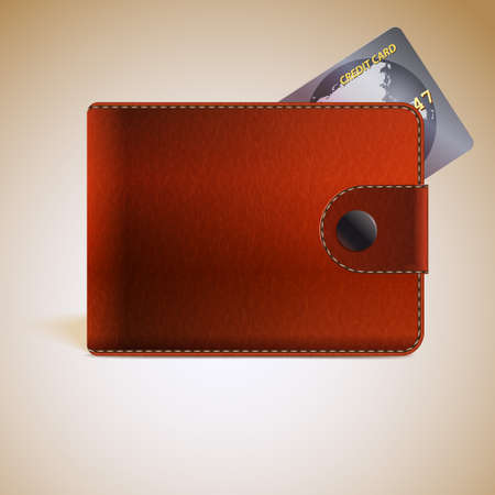Vector Realistic Rufous Leather Wallet With Credit Card