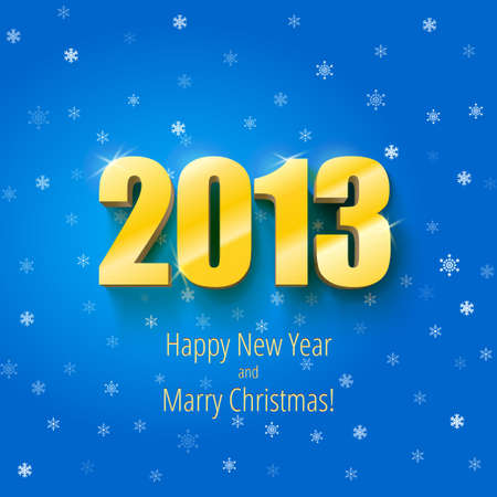 New year 2013 background gold numbers, vector illustration Illustration