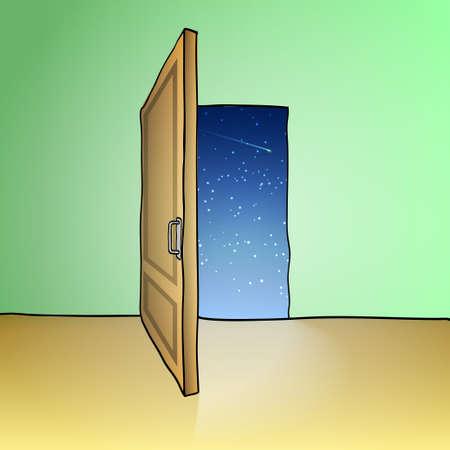 Opened door, sketch  illustration in doodle style Stock Vector - 17256593