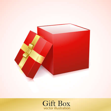 Open Red Cardboard Carton Gift Box  Illustration  Isolated