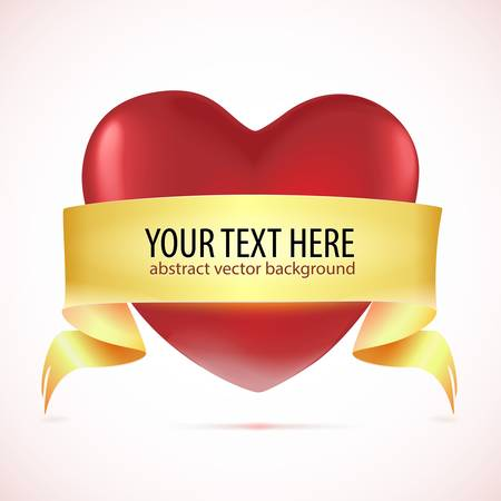 Red heart with tape   Vector illustration Stock Vector - 17514762