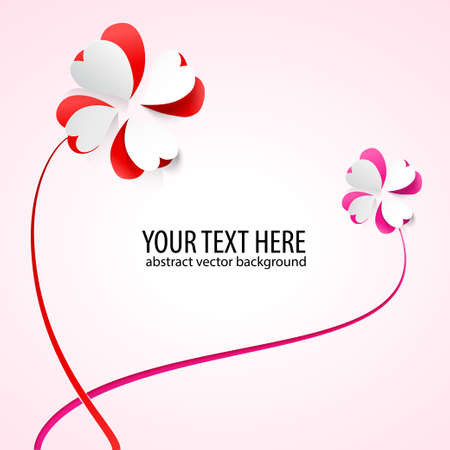 Vector background with flowers  Scarlet heart