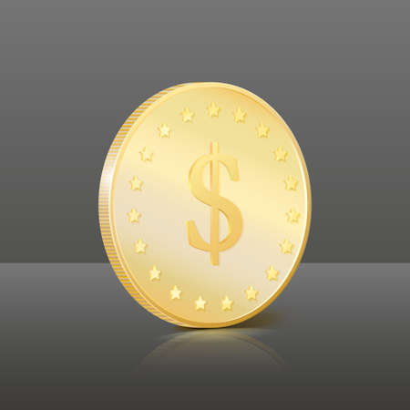 Gold coin with dollar sign  Vector illustration Stock Vector - 17514761