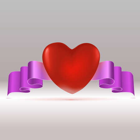 Red heart with tape   Vector illustration Illustration