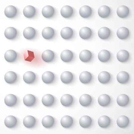 red cube: Cubo rosso tra sfere bianche, in piedi in mezzo alla folla