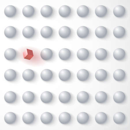Red cube among white spheres, standing out in the crowd  Vector
