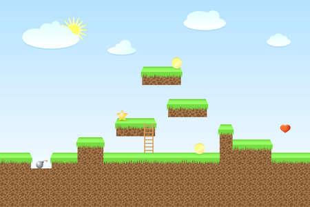Arcade game wereld, illustratie voor game Stock Illustratie