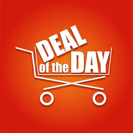deal: Deal of the day poster with a basket, vector illustration for your design