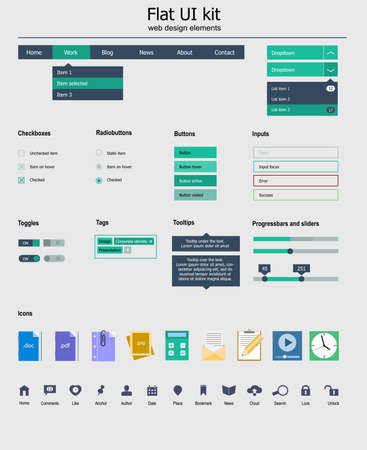 UI  kit is a of beautiful components featuring the flat design, with icon set Stock Vector - 22577721