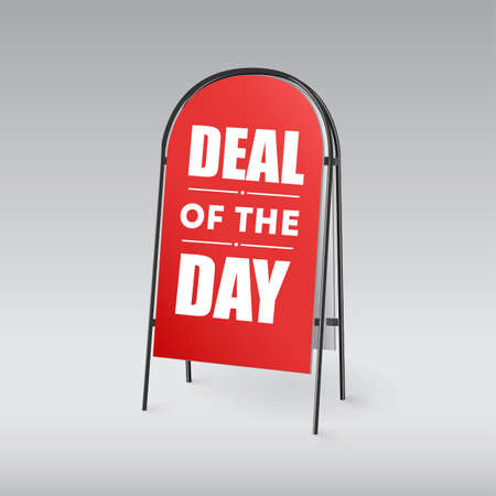 sandwich board: Sandwich board with an inscription Deal of the day on a red background Illustration