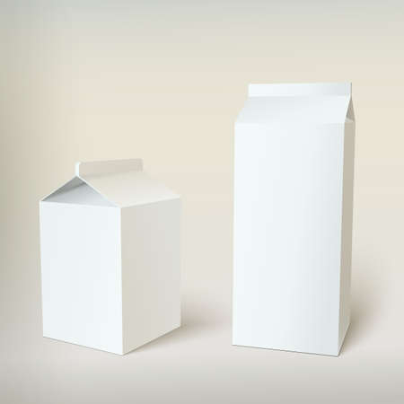 Milk Carton Packages Blank White, vector for your design Çizim