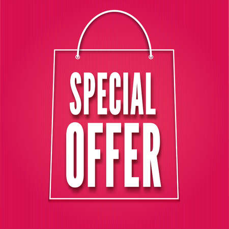 Special offer poster with bag, vector illustration for your design