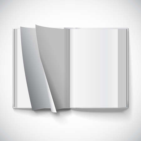 Blank open book, turn the pages, vector illustration with gradient mesh. Isolated object for design and branding Çizim