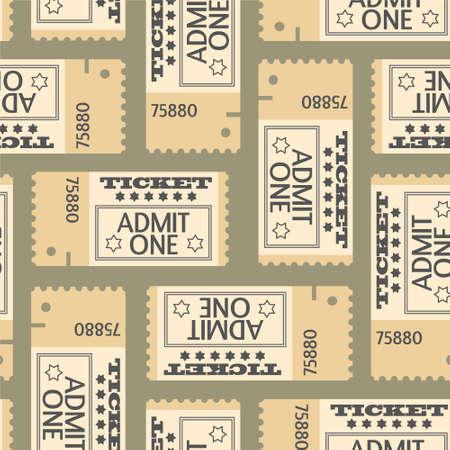 Tickets seamless pattern, abstract texture, vector art illustration