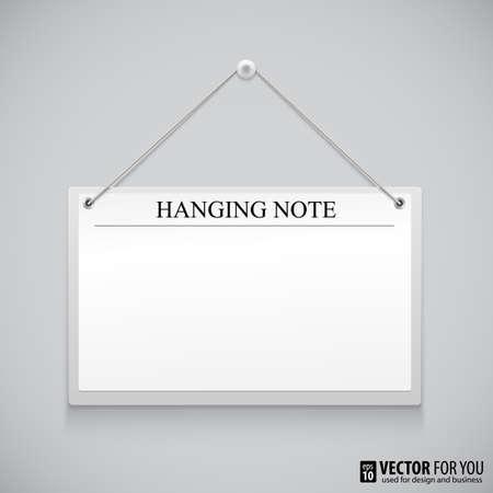 Realistic hanging empty advertisement canvas, panel, billboard, banner. Design element Illustration