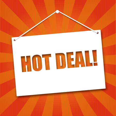 noteboard: Noteboard with the words Hot deal, symbol cut out of paper