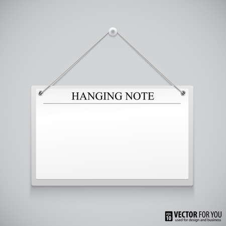 white board: Realistic hanging empty advertisement canvas, panel, billboard, banner. Design element Illustration