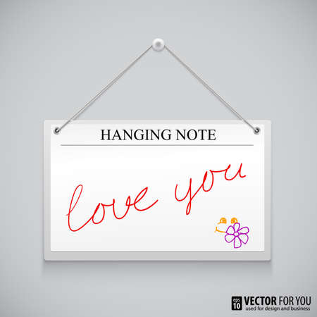 Hanging note board with text, writed red ink Love you