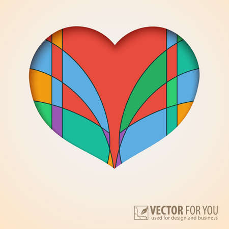 Heart cut out of paper with colored abstract  Vector