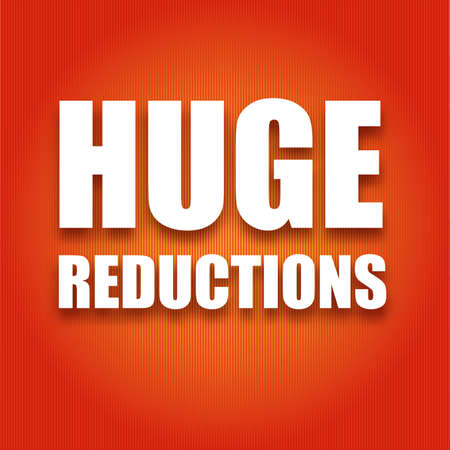 white letters: Caption large white letters Huge reductions on a red background, vector illustration for your design