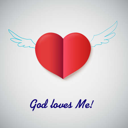 Heart cut out of paper with inscription God Loves me Illustration