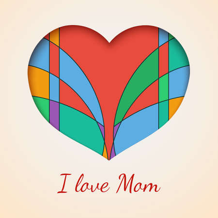 I love you mom with heart cuted out of paper with colored abstract  Vector