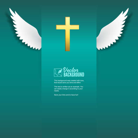 christian cross and wings: cross and wings.